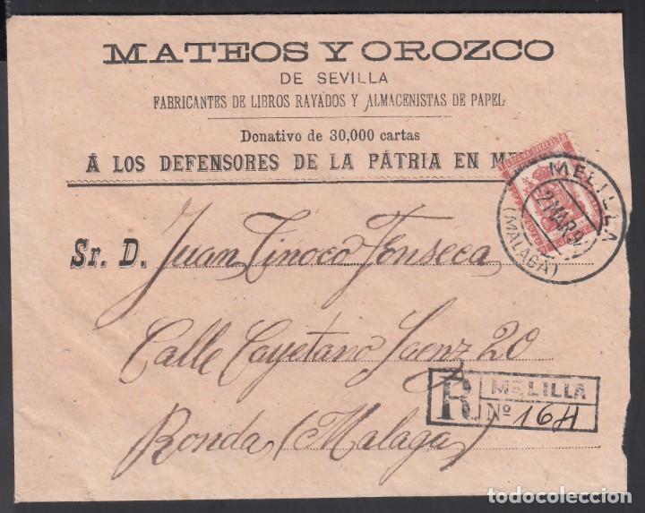 SOBRE, MELILLA A RONDA, CON FRANQUICIA MILITAR, MARCA, BATALLÓN DE CAZADORES DE CUBA. (Sellos - España - Alfonso XIII de 1.886 a 1.931 - Cartas)