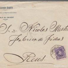 Sellos: CARTA CON SELLO CADETE DE R. SALVADOR SOSPEDRA- ALCALA CHIVERT - MATAS. AMBULANTE 1909. Lote 232010570