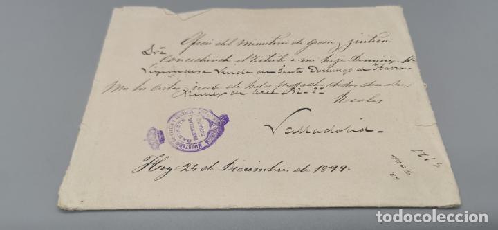 SOBRE VALLADOLID CON SELLO MINISTERIO DE GRACIA Y JUSTICIA AÑO 1899 (Sellos - España - Alfonso XIII de 1.886 a 1.931 - Cartas)
