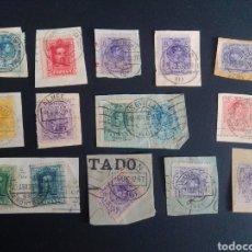 Sellos: ALFONSO XIII. LOTE DE MATASELLOS FECHADORES. EN FRAGMENTOS.. Lote 264495209