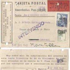 Timbres: TARJETA POSTAL INTERVENIDO EL CID 15CTS MURCIA 1943. Lote 264731124