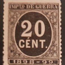 Francobolli: ESPAÑA, 1898. CIFRA Y LEYENDA. IMPUESTO DE GUERRA. 20 CTS. NEGRO (Nº 239 EDIFIL). Lote 265944223