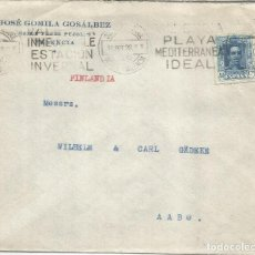 Timbres: VALENCIA A FINLANDIA 1928 ALFONSO XIII VAQUER MAT TURISTICO ESTACION INVERNAL PLAYA IDEAL CON LLEGAD. Lote 265969248