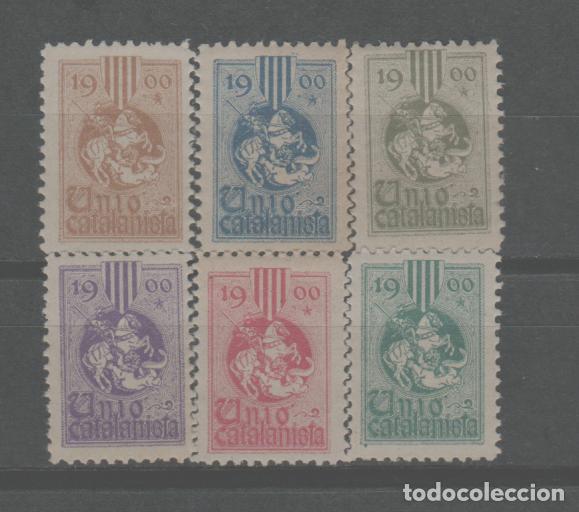 LOTE (6) SELLOS VIÑETAS UNION CATALANISTA CATALUÑA AÑOS 1900 BARCELONA NUEVAS SIN CHARNELA (Sellos - España - Alfonso XIII de 1.886 a 1.931 - Nuevos)