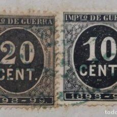 Sellos: SELLO IMPUESTO DE GUERRA 1898 - 99 DE 20 CENT Y 10 CENT EN PAPEL SELLADO DE 75 CENTIMOS 13VA CLASE. Lote 267397949