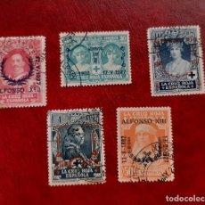 Selos: ESPAÑA 1927. EDIFIL 348/362. 5 VALORES DE LA SERIE CIRCULADOS.. Lote 267763219