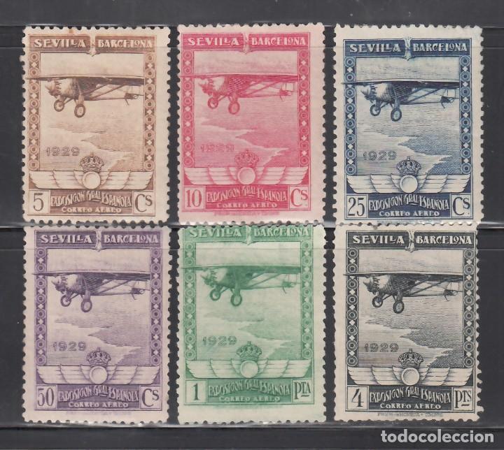 ESPAÑA, 1929 EDIFIL Nº 448 / 453 /**/, EXPOSICIÓN DE SEVILLA Y BARCELONA. AÉREOS (Sellos - España - Alfonso XIII de 1.886 a 1.931 - Nuevos)
