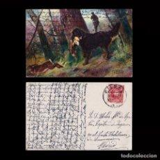 Sellos: POSTAL CAZA.SELLO 10C.ALFONSO XIII.MATASELLO BILBAO 1908.. Lote 269128023