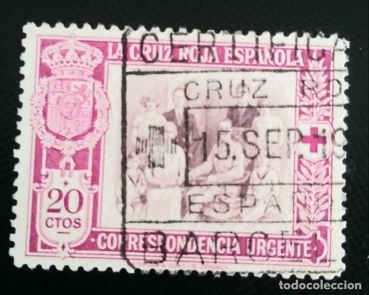 1926 15 SEP. PRO CRUZ ROJA ESPAÑOLA 20 C. EDIFIL 338 LILA Y CASTAÑO.CCTT (Sellos - España - Alfonso XIII de 1.886 a 1.931 - Usados)