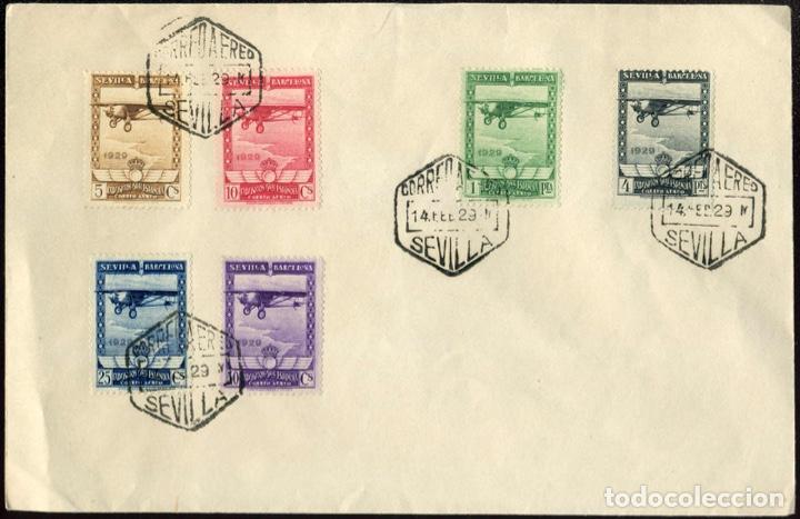 1929 EXP. SEVILLA Y BARCELONA EDIFIL 448/53(º) SERIE COMPLETA AVION V. CATALOGO 160€ (Sellos - España - Alfonso XIII de 1.886 a 1.931 - Cartas)