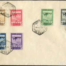 Sellos: 1929 EXP. SEVILLA Y BARCELONA EDIFIL 448/53(º) SERIE COMPLETA AVION V. CATALOGO 160€. Lote 269812158