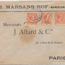 Francobolli: PELON EDIFIL 218 3 SELLOS SOBRE DE BARCELONA A PARIS 1900. Lote 270210528