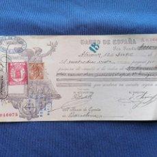 Sellos: ESPAÑA SELLOS PAGARE AÑO 1905 CON SELLOS TAXA MOVIL BANCO ESPAÑA ALICANTE. Lote 274000628