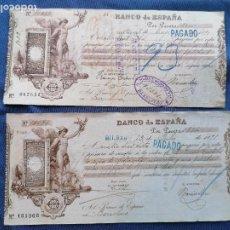 Sellos: ESPAÑA SELLOS 2 PAGARE AÑO 1890 CON SELLOS TAXA GIRO BANCO ESPAÑA BARBASTRO Y BARCELONA. Lote 274001133