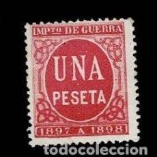 Sellos: 0552 FISCAL PARA IMPUESTO DE GUERRA 1 PESETA ROJO AÑOS 1897-98. Lote 276123908