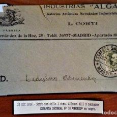 Sellos: ALFONSO XIII VAQUER MADRID 1929 MATASELLO FECHADOR ESTAFETA SUCURSAL 10 TARIFA IMPRESOS. Lote 276803993