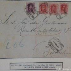 Sellos: ALFONSO XIII VAQUER CERTIFICADO MADRID 1925 FRONTAL ESTAFETA SUCURSAL 12. Lote 276805138