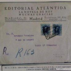 Sellos: ALFONSO XIII VAQUER CERTIFICADO ALCANCE NORTE MADRID 1928 SOBRE PUBLICITARIO EDITORIAL ATLÁNTIDA. Lote 276805358