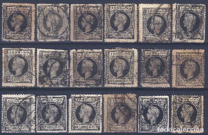 EDIFIL 240 ALFONSO XIII. IMPUESTO DE GUERRA 1898-1899. LOTE DE 18 SELLOS. (Sellos - España - Alfonso XIII de 1.886 a 1.931 - Usados)