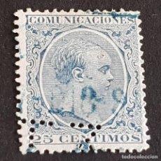 Sellos: ESPAÑA, 1889, ALFONSO XIII, EDIFIL 221, TELÉGRAFOS, PERFORADO PUNTOS, ( LOTE AR ). Lote 278399868