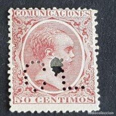 Sellos: ESPAÑA, 1889, ALFONSO XIII, EDIFIL 224, TELÉGRAFOS, PERFORADO CL CREDIT LIONNAIS, ( LOTE AR ). Lote 278404378