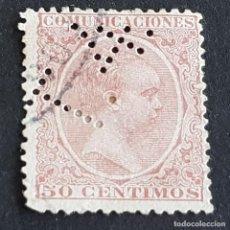 Sellos: ESPAÑA, 1889, ALFONSO XIII, EDIFIL 224, TELÉGRAFOS, PERFORADO T 4, ( LOTE AR ). Lote 278405343