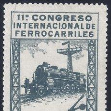 Sellos: EDIFIL 479 XI CONGRESO INTERNACIONAL DE FERROCARRILES 1930. MH *. Lote 278838783