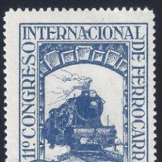 Sellos: EDIFIL 477 XI CONGRESO INTERNACIONAL DE FERROCARRILES 1930. MNH **. Lote 278840113