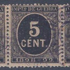 Sellos: EDIFIL 236 CIFRAS 1898-1899. SELLOS DE IMPUESTO DE GUERRA. TIRA DE 3 SELLOS. VALOR CATÁLOGO: 12 €.. Lote 280998723
