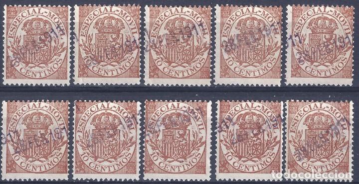 FISCAL. ESPECIAL MÓVIL. ALFONSO XIII. LOTE DE 10 SELLOS.FECHADOS EL 28 DE FEBRERO DE 1911. LUJO. (Sellos - España - Alfonso XIII de 1.886 a 1.931 - Usados)