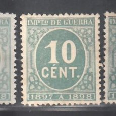 Sellos: ESPAÑA, 1897 EDIFIL Nº 232, 233, 234, CIFRAS,. Lote 286878183