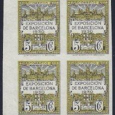 Sellos: BARCELONA. EDIFIL 6S. EXPOSICIÓN DE BARCELONA 1930 (BLOQUE DE 4). V. CAT.: 48 €. MNG.. Lote 287073948
