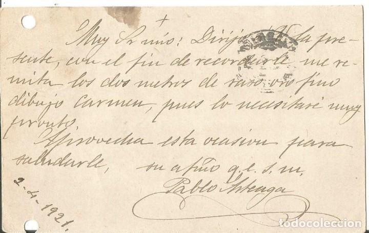 Sellos: Tarjeta Postal Alfonso XIII Medallón. Madrid 1921 - Foto 2 - 287160278