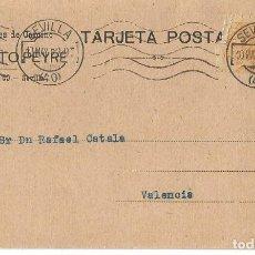 Sellos: TARJETA POSTAL AUGUSTO PEYRÉ . SEVILLA. ALFONSO XIII MEDALLÓN 15CS 1922. Lote 287167463