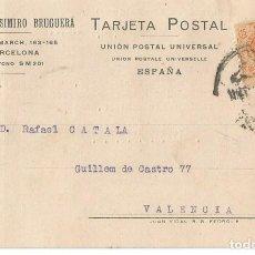 Sellos: TARJETA POSTAL CASIMIRO BRUGUERA ALFONSO XIII 15CS MEDALLÓN BARCELONA.1925. Lote 287168233
