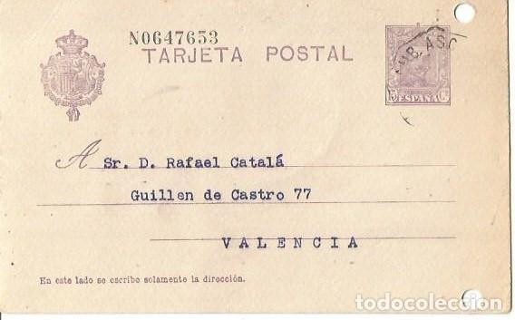 TARJETA POSTAL ALFONSO XIII. VAQUER 15C. VITORIA. AMBULANTE 1928 (Sellos - España - Alfonso XIII de 1.886 a 1.931 - Cartas)