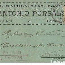 Sellos: TARJETA POSTAL ANTONIO PURSALS. ALFONSO XIII. MEDALLÓN 15C 1921. Lote 287175583