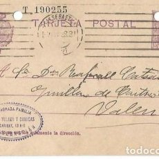 Sellos: TARJETA POSTAL. ALFONSO XIII 15C. VAQUER SAN SEBASTIAN 1927. Lote 287201203