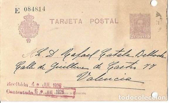 TARJETA POSTAL. ALFONSO XIII 15C. VAQUER JUL 1926 (Sellos - España - Alfonso XIII de 1.886 a 1.931 - Cartas)