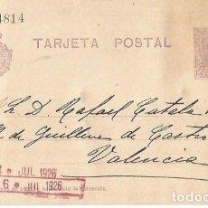 Sellos: TARJETA POSTAL. ALFONSO XIII 15C. VAQUER JUL 1926. Lote 287201653