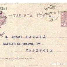 Sellos: TARJETA POSTAL. ALFONSO XIII 15C. MEDALLÓN BARCELONA 1925. Lote 287204568