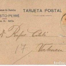 Sellos: TARJETA POSTAL. AUGUSTO PEYRÉ SEVILLA. ALFONSO XIII 15C. MEDALLÓN 1922. Lote 287204683