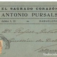 Sellos: TARJETA POSTAL. ANTONIO PURSALS. ALFONSO XIII 15C. MEDALLÓN 1923. Lote 287204993