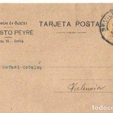 Sellos: TARJETA POSTAL. AUGUSTO PEYRÉ SEVILLA ALFONSO XIII 15C. MEDALLÓN MAY1922. Lote 287205078