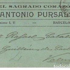 Sellos: TARJETA POSTAL ANTONIO PURSALS. ALFONSO XIII 15C MEDALLÓN 1921. Lote 287205618