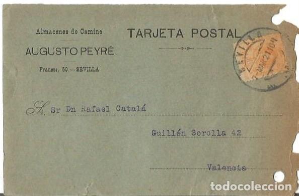 TARJETA POSTA. AUGUSTO PEYRÉ SEVILLA ALFONSO XIII 15C MEDALLÓN 1921 (Sellos - España - Alfonso XIII de 1.886 a 1.931 - Cartas)