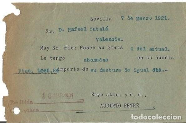 Sellos: Tarjeta Posta. Augusto Peyré Sevilla Alfonso XIII 15c Medallón 1921 - Foto 2 - 287205703