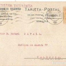 Sellos: TARJETA POSTA. ANÓNIMA INDUSTRIAL BARCELONA ALFONSO XIII 15C MEDALLÓN 1921. Lote 287205758