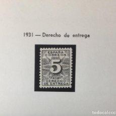 """Francobolli: EDIFIL 592 , DERECHO DE ENTREGA, NUEVO CON GOMA ORIGINAL SIN SEÑAL DE FIJ. """"""""LUJO"""""""". Lote 287307753"""