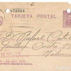 Sellos: TARJETA POSTAL ALFONSO XIII.VAQUER 15CS VALENCIA 16ABR1929. Lote 287310013
